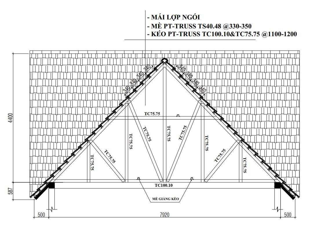 thiết kế thi công mái ngói